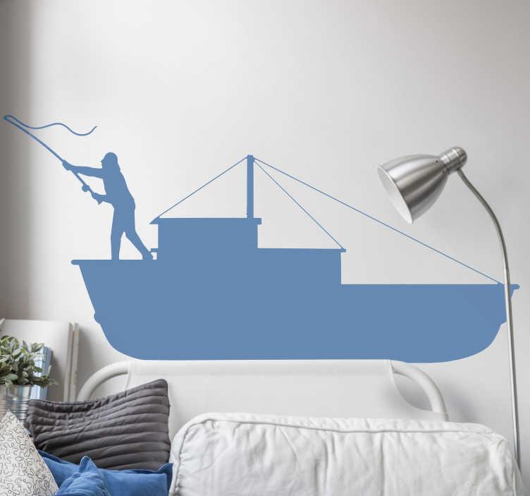 TenStickers. Sticker mare barca da pesca. Sfrutta l'impatto visivo dello stupendo adesivo murale con barca da pesca per portare in casa tua vere atmosfere marittime!