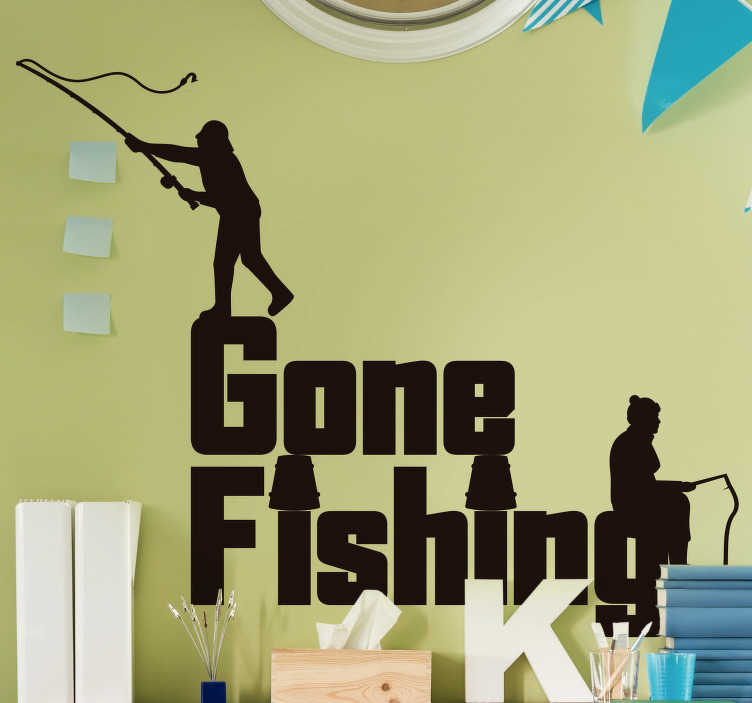 TenStickers. Gone fishing nautical sticker. Let everyone know that you've gone fishing! This simple yet charming nautical sticker is exactly what you need in your home!