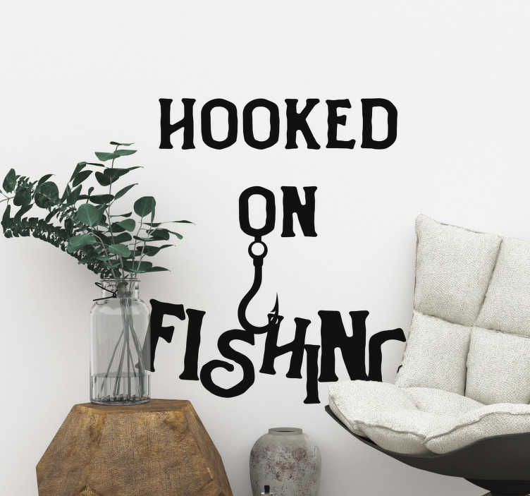 TenStickers. Fishing text nautical sticker. If you are hooked on fishing then this would be the perfect sticker for you! This fishing sticker would perfect for your home, or even your car!