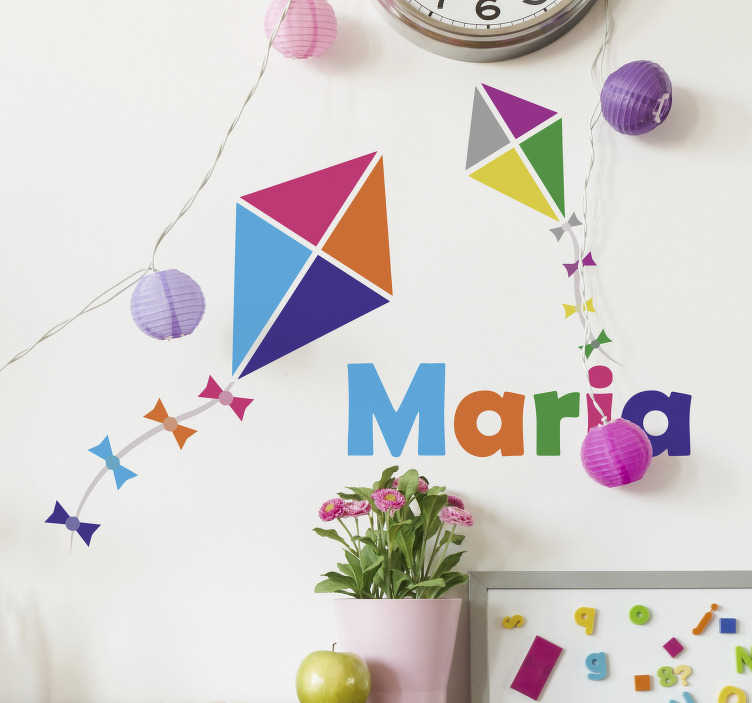 TenStickers. Personalised kite kids decal. Decorate with this superb personalised sticker, featuring two colourful kites flying above a name of your choice! Easy to apply
