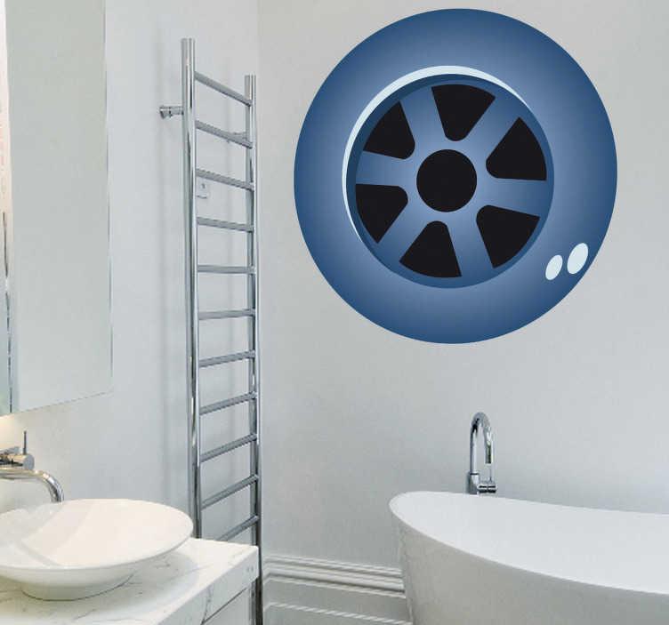 TenStickers. Naklejka dekoracyjna odpływ wanny. Naklejka dekoracyjna, która przedstawia odpływ wanny. Idealny element dekoracyjny do Twojej łazienki, Obrazek jest dostępny w wielu kolorach i wymiarach.