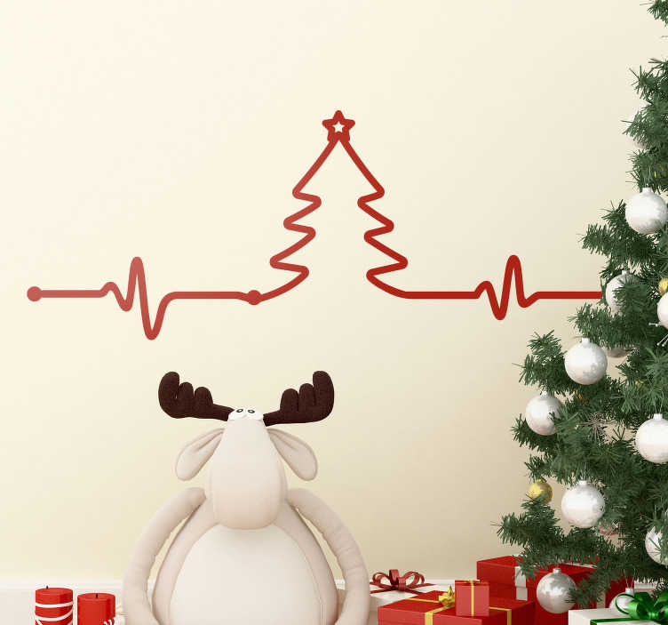 TenStickers. Tree electrocardiogram christmas wall sticker. An electrocardiography Christmas tree to decorate your home for Christmas to enjoy the season with family and friends, you can have it in any colour.