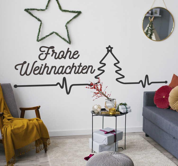 TenStickers. Weihnachtsaufkleber Herzschlag mit Text. Verbinden Sie Ihre Vorfreude auf Weihnachten mit einem Wandspruch in diesem Wandtattoo! Nach Ihrer Vorstellung in verschiedenen Farben und Größen.