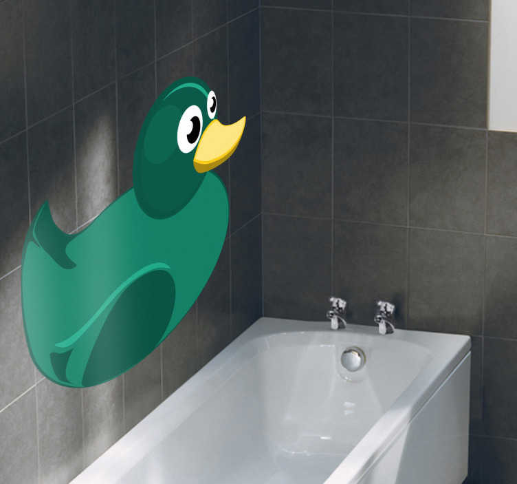 TenStickers. Autocollant mural canard vert. Adhésif illustrant un petit canard en plastique vert. Stickers qui remplira de fraîcheur votre instant de toilette. Idéale pour décorer la salle de bain.