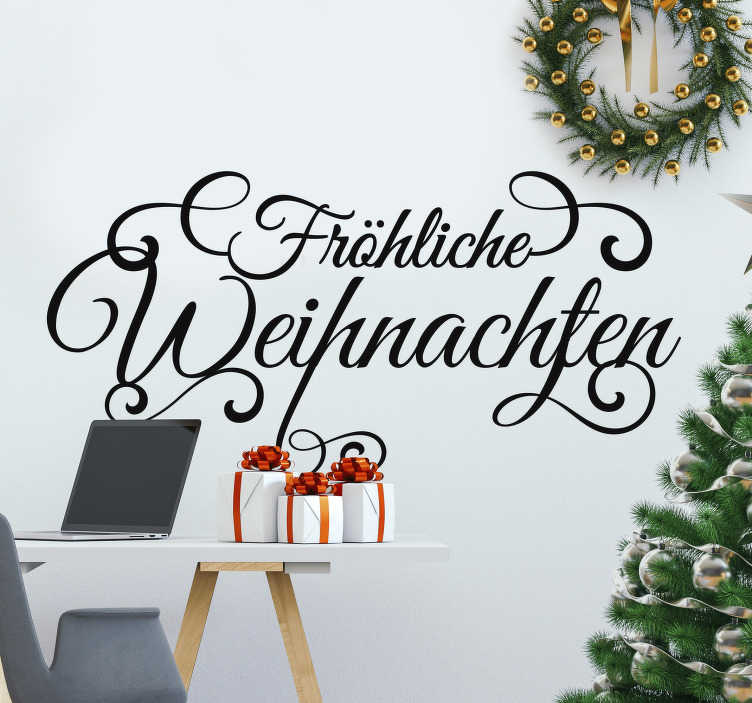 """TenStickers. Weihnachtsaufkleber Schnörgeltext. """"Fröhliche Weinacht überall, tönt es durch die Lüfte"""" und jetzt steht es auch in Ihrem Wohnzimmer mit diesem Weihnachtsaufkleber in hoher Qualität!"""