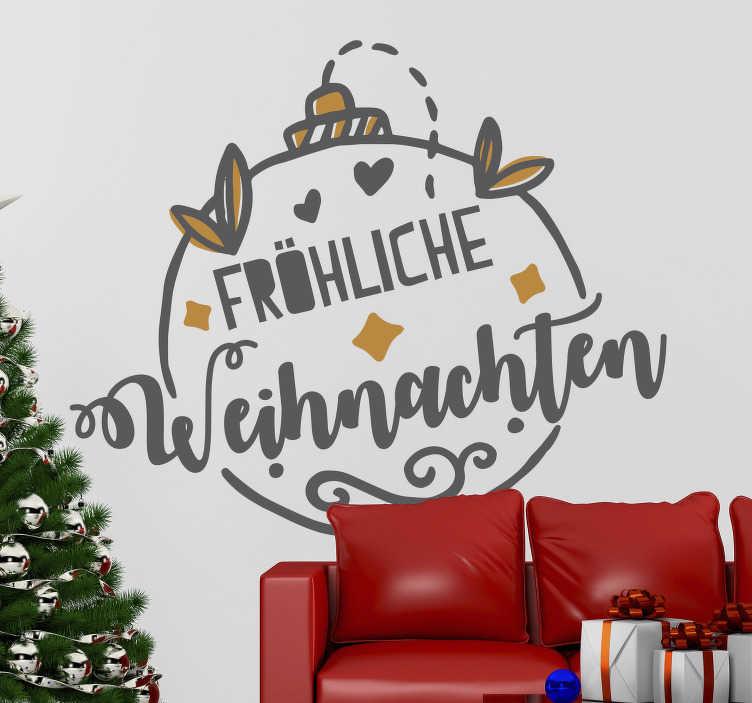 """TenStickers. Weihnachtsaufkleber Baumkugel """"Fröhliche Weihnachten"""". Dieser süße Wandaufkleber ist die weihnachtliche Dekoration mit dem Text """"Fröhliche Weihnachten"""" die Sie gesucht haben! Und das mit bester Qualität!"""