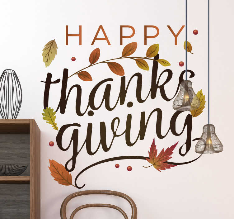 TenStickers. Happy Thanksgiving holiday decal. This year we are thankful for our fantastic customers! If you are looking for unique way to decorate then this sticker is what you need!