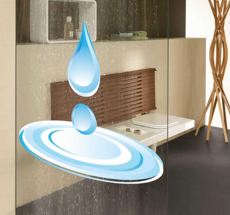 TenStickers. Naklejka dekoracyjna kropla wody. Naklejka dekoracyjna przedstawiająca dwie krople wody, które uderzając o powierzchnię tworzą kałuże. Oryginalny pomysł na dekorację łazienki.