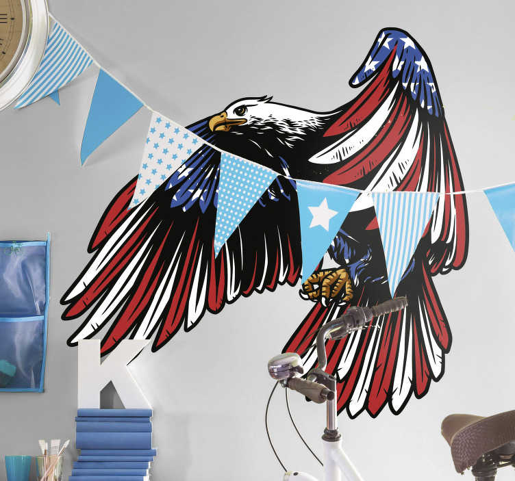 TenStickers. American eagle bird sticker. An amazing, patriotic design for those who love the United States of America. Our amazing American stickers are also bubble proof!