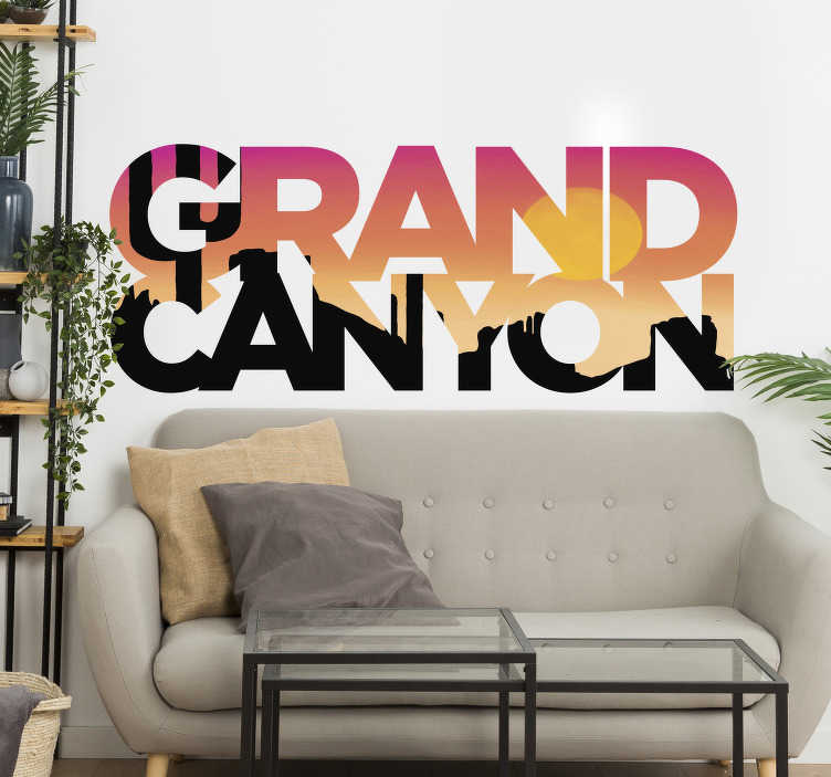 TenStickers. Grand Canyon lettering  location decal. Are you looking for a way to add some characteristic charm to your walls? If you're a fan of the Grand Canyon then this location sticker is perfect