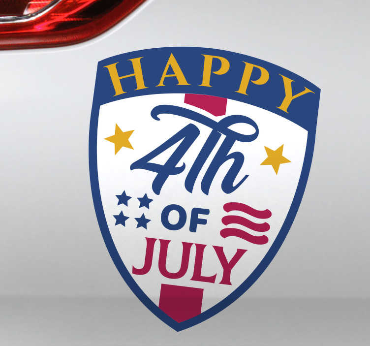 TenStickers. Happy 4th July car decal. If you want to wish other drivers a happy Fourth of July this car sticker it's exactly what you've been looking for. Easy application