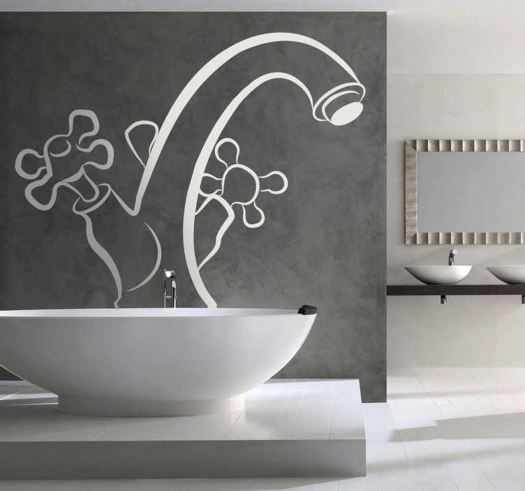 TenStickers. Wasserhahn Bad Aufkleber. Kaltes und warmes Wasser. Mit diesem Wasserhahn Wandtattoo können Sie Ihr Badezimmer dekorieren.