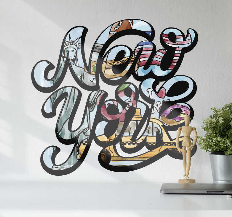 TenStickers. Typography New York  sticker. A funky New York sticker, perfect for adding that little touch of city life we all need in our home! Extremely long-lasting material.