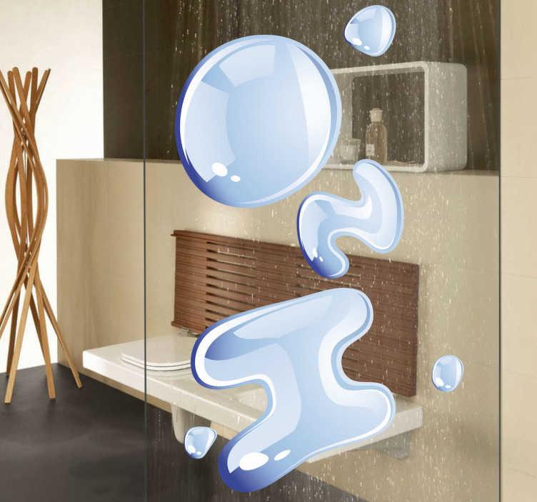 TenStickers. H20 Text Aufkleber. Die chemische Formel von Wasser als origineller Aufkleber für Ihr Bad.