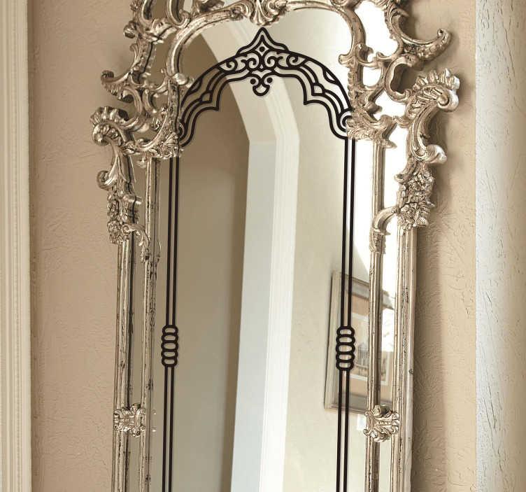 TenStickers. 빈티지 거울 프레임 벽 스티커. 거울의 표면을 장식하고 자신을 위해 미소를 만들기 위해 다른 색상으로 가질 수있는 빈티지 거울 데칼.