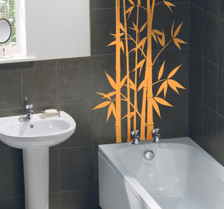 TenStickers. Naklejka dekoracyjna bambus. Egzotyczna naklejka na ścianę przedstawiająca pędy bambusa. Stwórz orientalny styl w swojej łazience.