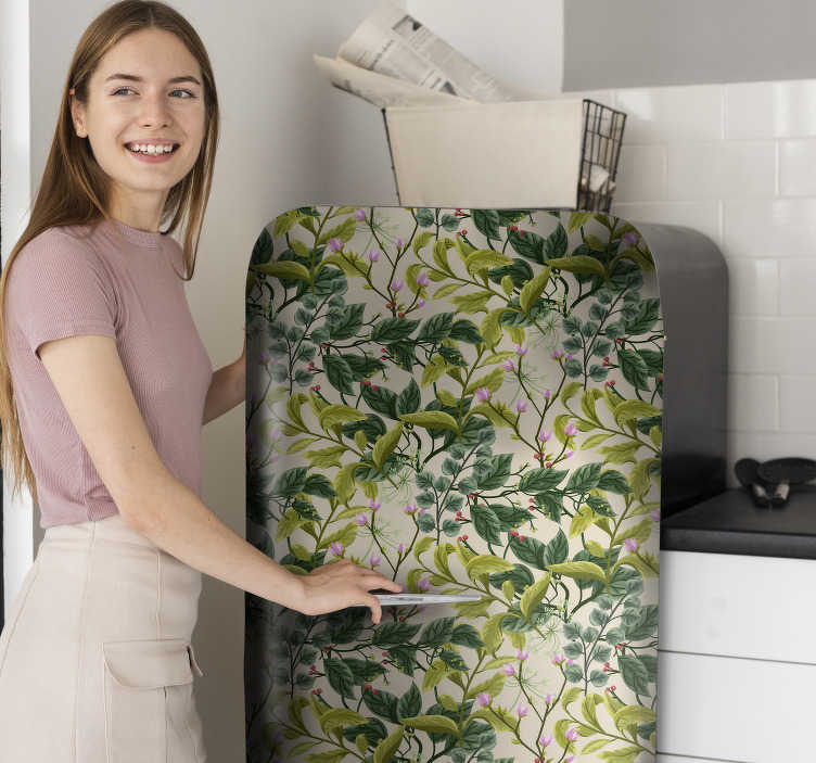 TenStickers. Vegetation fridge wrap. If you're looking for a way to vamp up your fridge then do it with this fridge sticker! A simple fridge decal can completely transform your kitchen