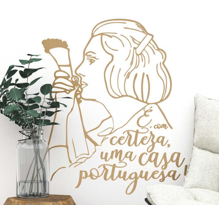 """TenStickers. Autocolantes de letras de canções Casa Portuguesa. Vinil de letras de canções da música """"Uma Casa Portuguesa"""" é perfeito para os amantes de fado e para todos os que admiram a grande Amália Rodrigues!"""