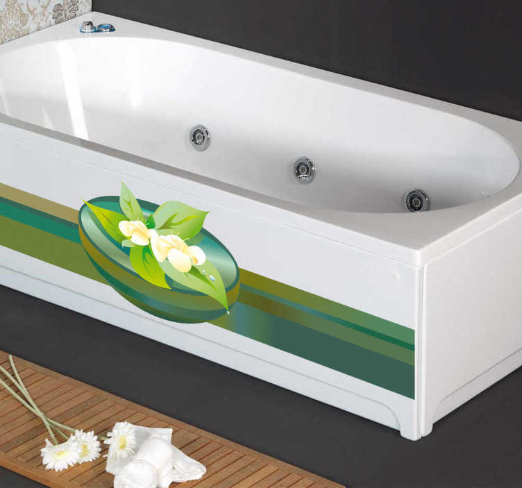 TenVinilo. Vinilo decorativo ilustración spa. Adhesivo relajante de un bonito centro decorativo con flores flotantes. Una decoración zen para tu baño y recrea el ambiente que se respira en un balneario.