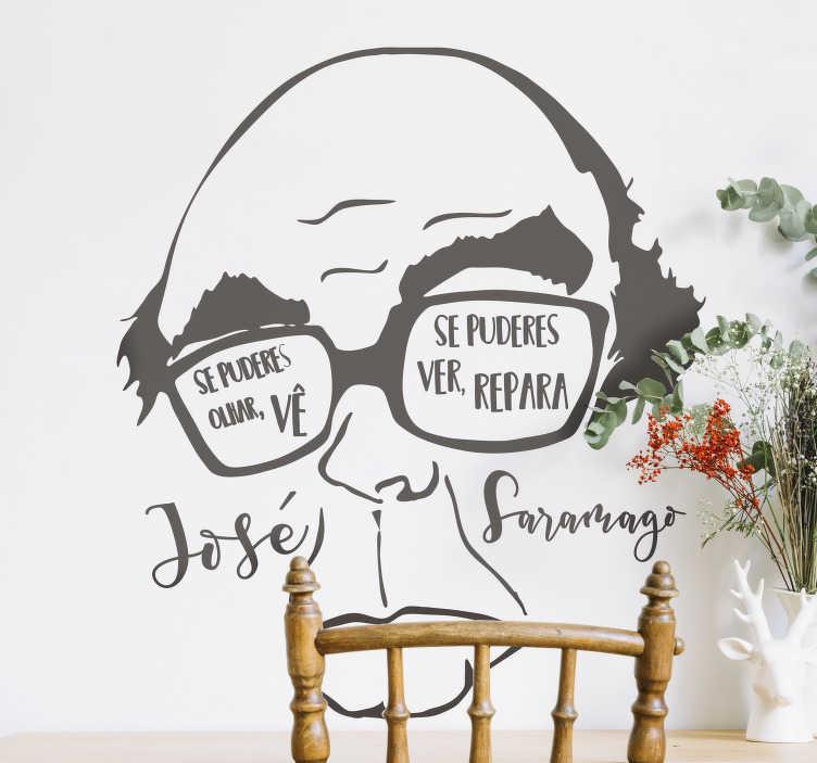 """TenStickers. Autocolantes de citações celebres Citação José Saramago. """"Se puderes olhar, vê. Se puderes ver, repara."""" esta importante lição numa original peça de decoração na tua casa com este vinil decorativo!"""
