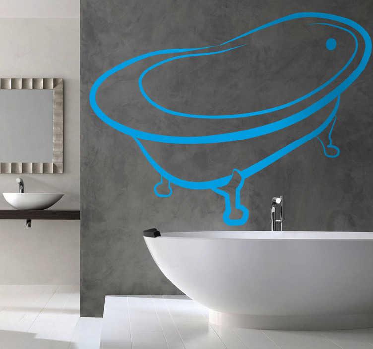 TenStickers. Autocollant mural baignoire. Stickers illustrant une baignoire. Stickers plein de fraîcheur, idéale pour décorer la salle de bain.