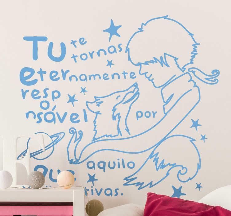 """TenStickers. Autocolantes de contos infantis Frase famosa do Principezinho. Dê um toque original à decoração do quarto dos seus filhos com este vinil para quarto infantilde uma famosa frase do livro """"O Principezinho""""."""