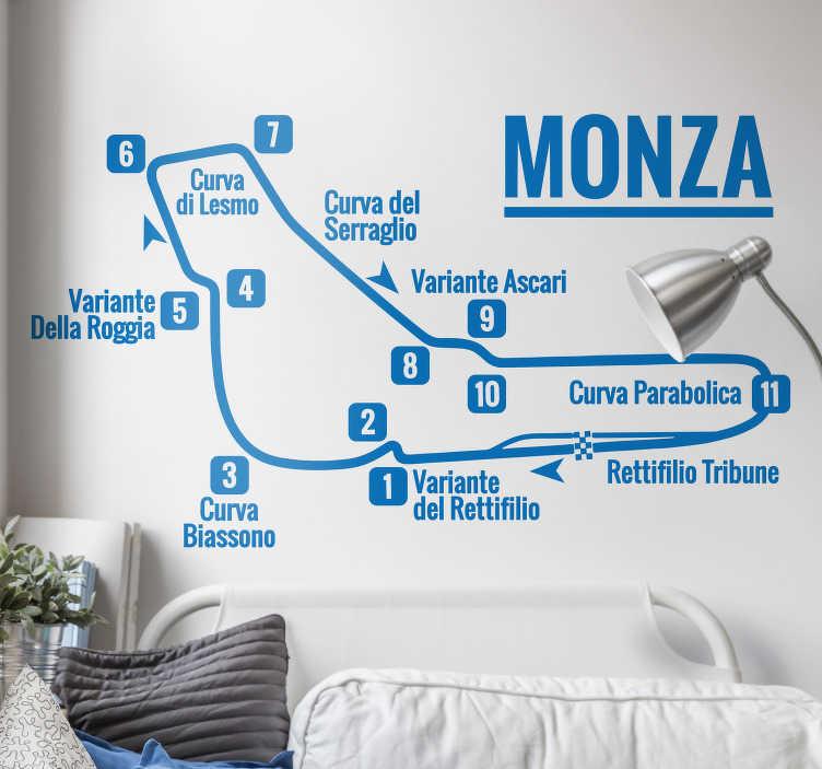 TenStickers. Adesivo murale sport circuito di Monza. Scopri un Dettagliato sticker murale del circuito di Monza e come può rendere originale e diversa la tua casa! Dillo con uno Stickers!