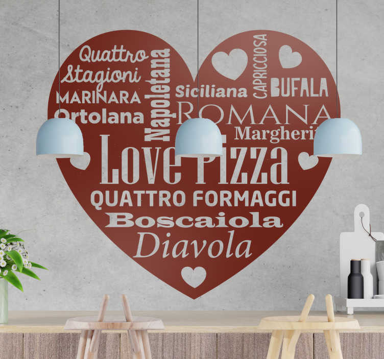 TenStickers. Sticker cibo amore per la pizza. Trasforma i tuoi ambienti con un fantastico adesivo murale per cucina sull'amore per la pizza  e dona alla tua casa una personalità nuova!