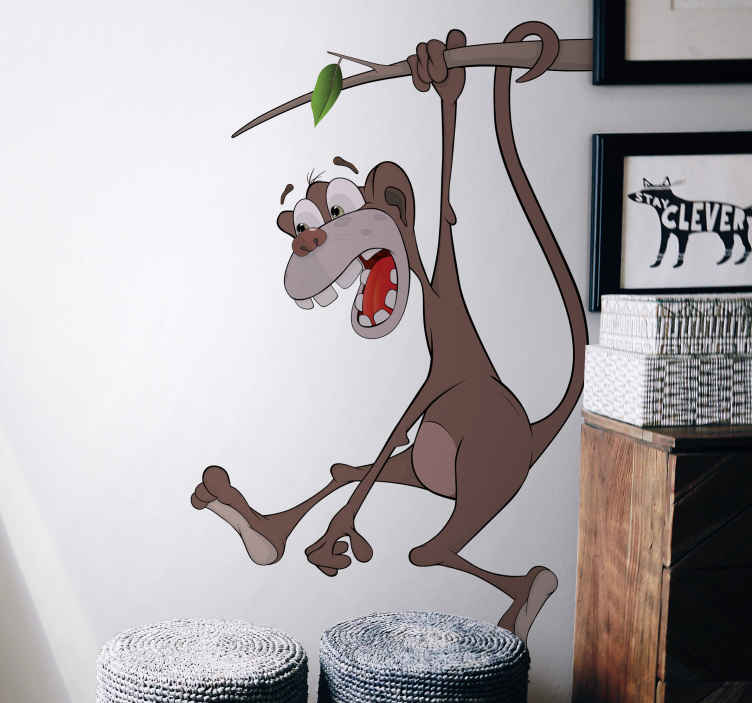 TenStickers. Kids Sticker Art Cartoon Monkey. A funny decal for your child's room. A great design from our monkey wall stickers collection. Fill that empty wall with something you'll love.