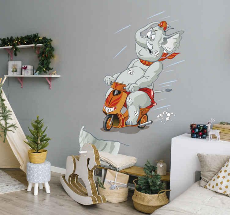 TenStickers. Naklejka słoń na motorze. Oryginalna naklejka na ścianę przedstawiająca rozpędzonego na motorze słonia. Niebanalny pomysł na dekorację pokoju dziecięcego.
