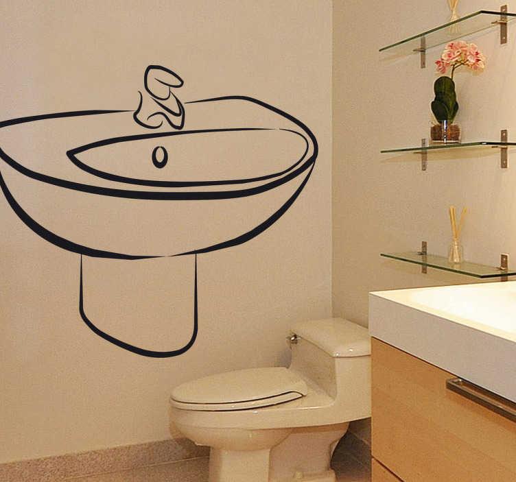 TenStickers. Waschbecken Bad Aufkleber. Mit diesem Waschbecken als Wandtattoo können Sie Ihr Badezimmer verzieren.