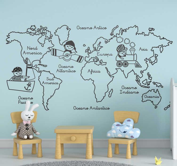 TenStickers. Adesivo murale per bambini cartina mondo. Insegna la geografia i tuoi figli con questo allegro adesivi per bambini con la cartina del mondo e renderai loro cameretta veramente unica!