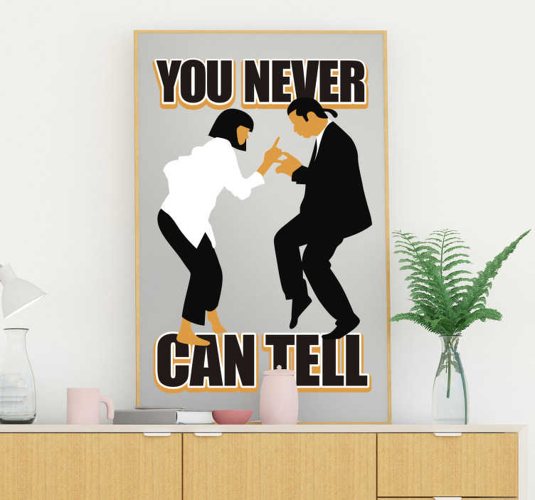 TenStickers. Mia Wallace and Vincent Vega cinema wall sticker. A wall decal of movie personalities of Mia Wallace and Vincent Vega with quote that you will love to decorate the surface of your wall at home.