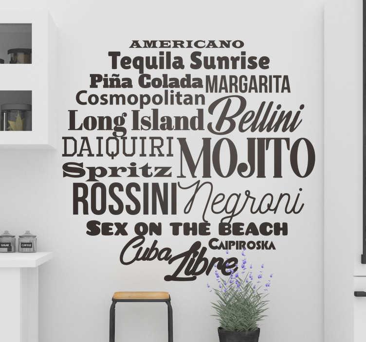 TenStickers. Sticker moderno nomi cocktails. Stiloso sticker moderno con i nomi dei cocktails, ideale per gli abbonati fissi dell'aperitivo o per chi possiede una profonda cultura del bere!