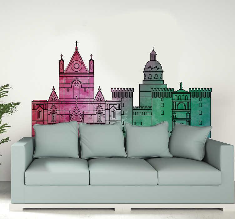 TenStickers. Sticker murale skyline di Napoli. Decora il tuo salotto con questo colorato adesivo murale dello Skyline di Napoli e potrai avere un ambiente veramente unico nella tua casa!