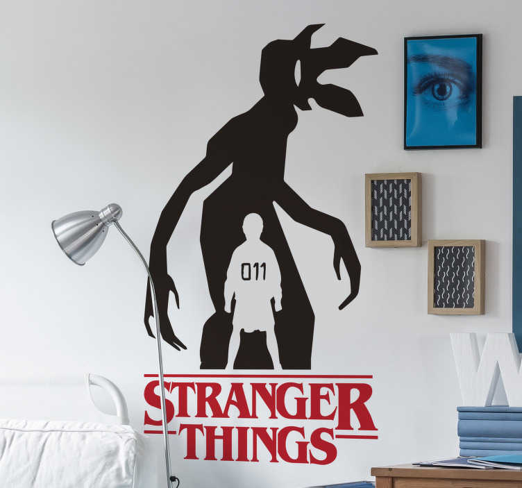 TenStickers. Stranger Things silhouette cinema decal. A TV series silhouette of stranger things created with the monster character and the super hero girl with the number 11. Easy to apply design.