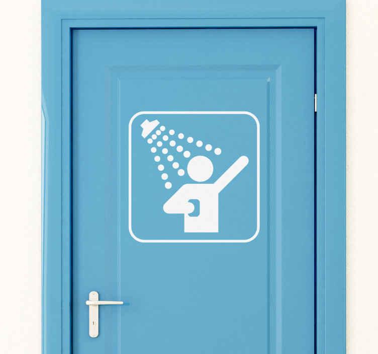 TenVinilo. Vinilo decorativo señal ducha. Adhesivo para decorar tu cuarto de baño indicando que hay una ducha donde te puedes bañar y enjabonar, tu aseo personal sera de lo mas entretenido.