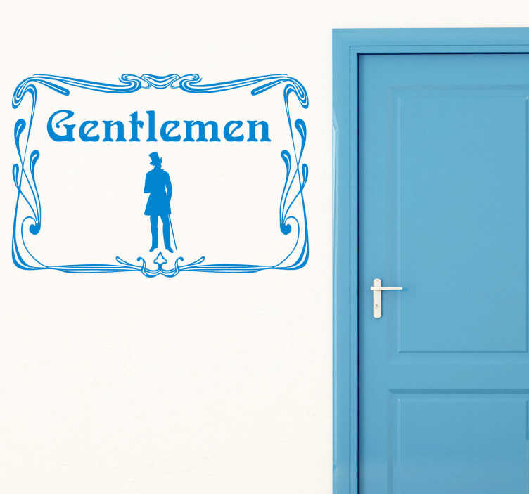 TenStickers. The Gents Toilet Sign Vintage Sticker. A vintage decal from our retro wall stickers set illustrating a gentlemen to differentiate the gents toilets in an elegant and exquisitely way.