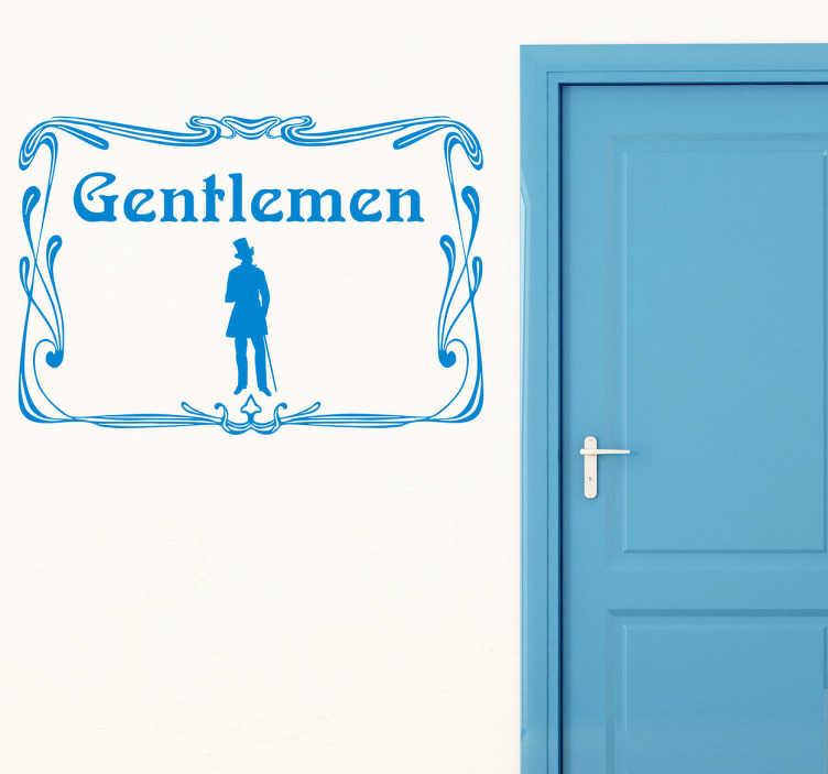 TenVinilo. Vinilo señal lavabo hombres vintage. Adhesivo con ilustración antigua de un gentlemen para diferenciar el baño de caballeros de una manera elegante y exquisita. Vinilos retro que no dejarán a nadie indiferente cuando decidan ir al baño y que les quedará muy claro a que puerta deben entrar.