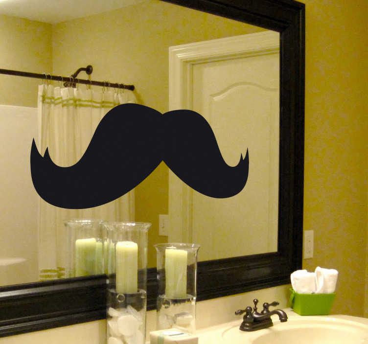TenStickers. Moustache Bathroom Sticker. Bathroom mirror sticker of an enormous moustache, ideal to give your bathroom a most curious and fun atmosphere. A sticker filled with humour: Look at yourself in the mirror and imagine yourself with this facial hair.