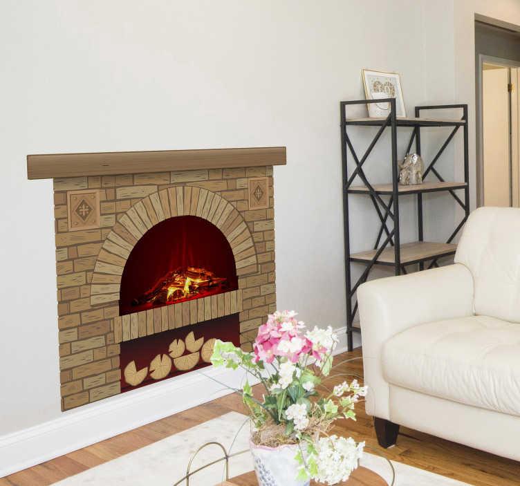 TenStickers. кирпичный камин визуальные эффекты наклейки на стены. оригинальная кирпичная стена с надписью на камине, созданная с изображением камина, которым вы можете украсить свой дом. легко наносится дизайн.