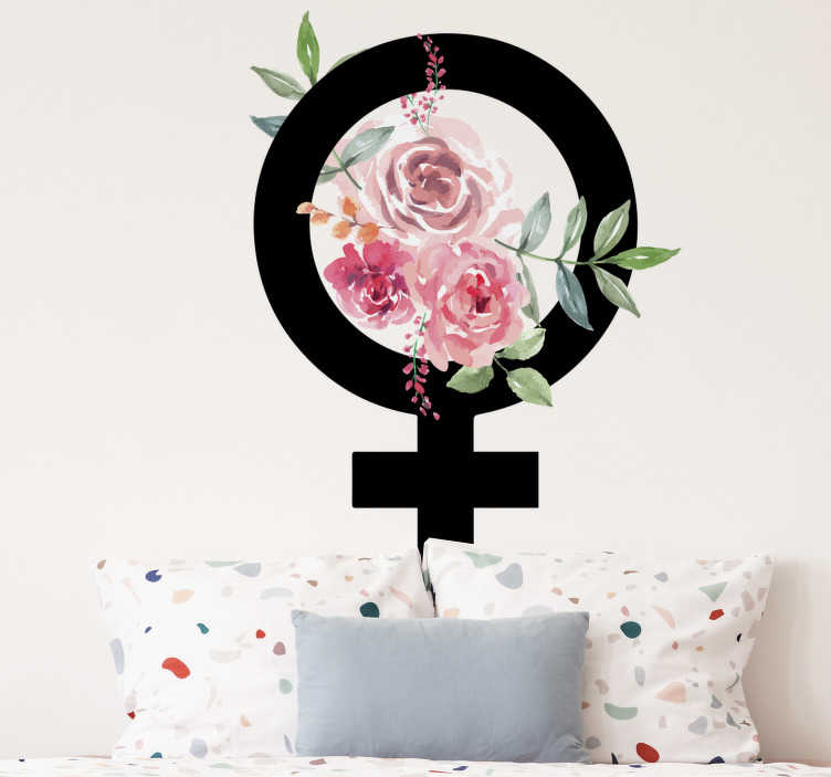 TenStickers. Female symbol emoji wall sticker. A female symbol emoji wall sticker design with flower to decorate the surface of your bedroom or living room. Easy to apply design.