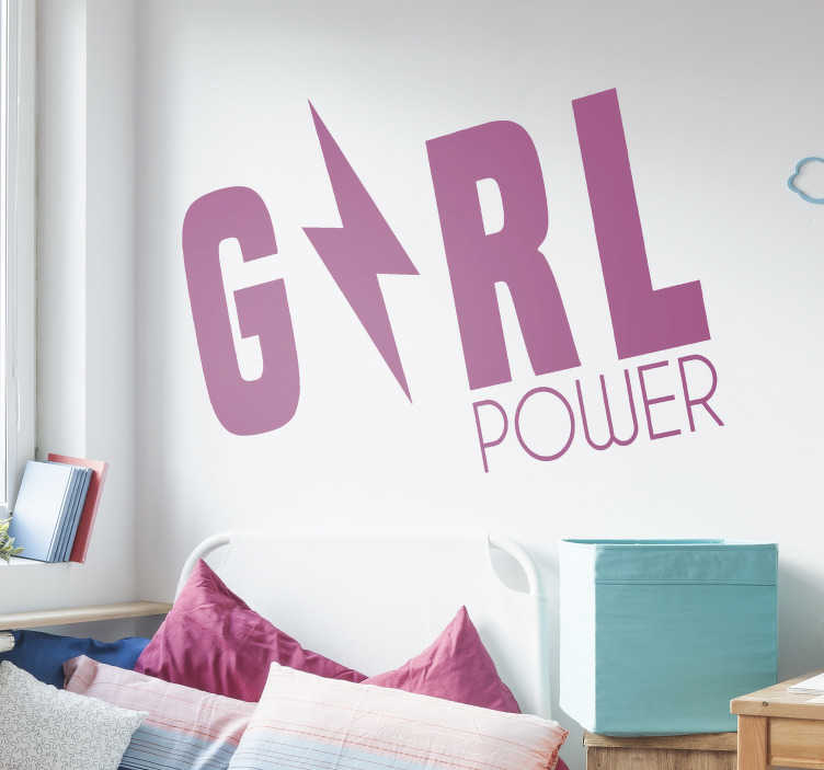 TenStickers. Feminist Girl power motivational sticker. A girl power motivational decal that you can have in any colour of your choice to decorate and display your personality on the wall surface.