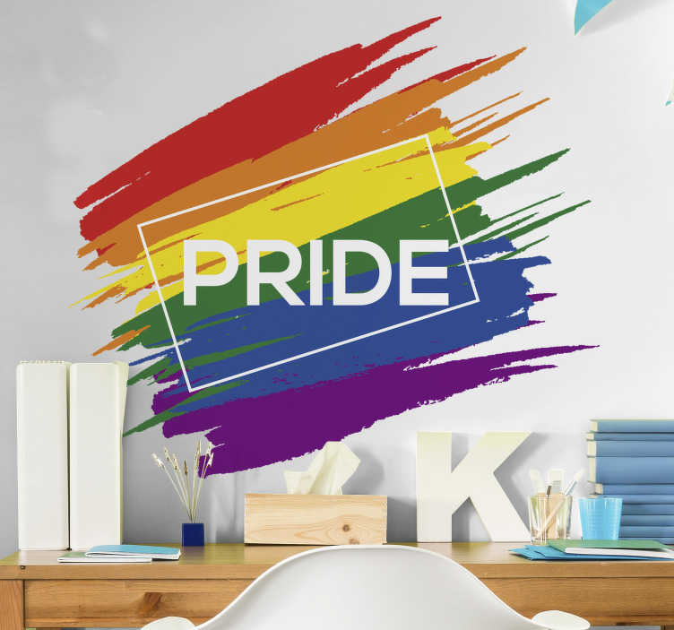 TenStickers. Pride flag wall decor. A flag of pride with colours that will beautify the surface of your wall at home in the living room or bedroom. Self adhesive that is easy to apply.