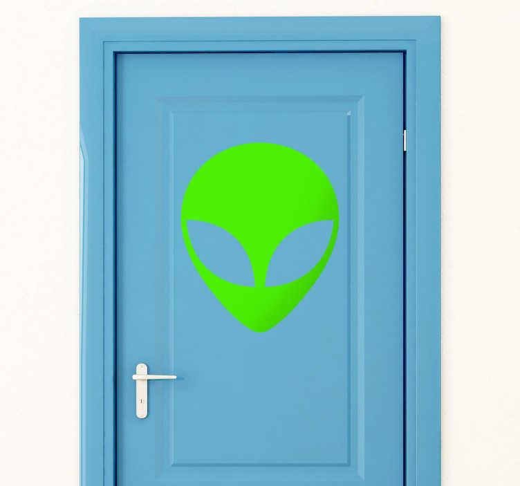 TenVinilo. Adhesivo decorativo icono extraterrestre. Vinilo para puerta de un alienígena recién llegado del espacio para adornar tu habitación dándole un ambiente cósmico a la decoración.