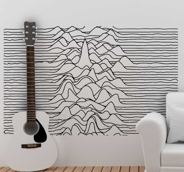 TenStickers. Contour lines rock wall sticker. This cool music wall sticker is perfect for your living room or bedroom with the black and white design, remembering of contour lines.