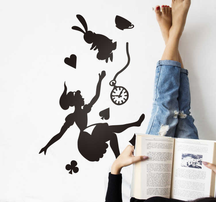 TenStickers. Alice and the White Rabbit fairy tale wall decal. Fairy tale story wall decal of Alice and the rabbit created in a silhouette style and you can have it in any other colour and size of your choice.