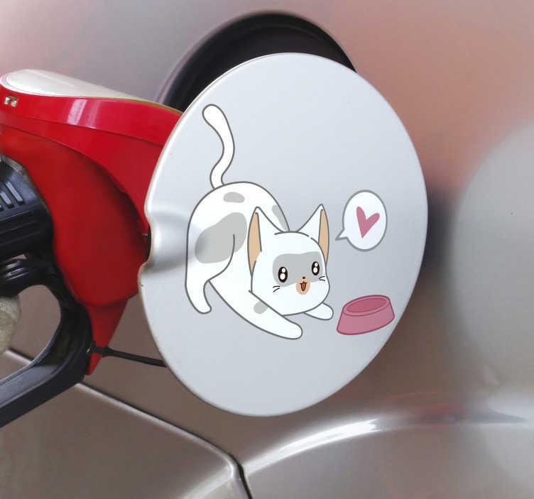 TenVinilo. Vinilo para coche Tanque de gato. Exclusiva pegatina coche adhesiva con la imagen de un gato con corazón con la que podrás personalizar tu coche. Fácil de aplicar.