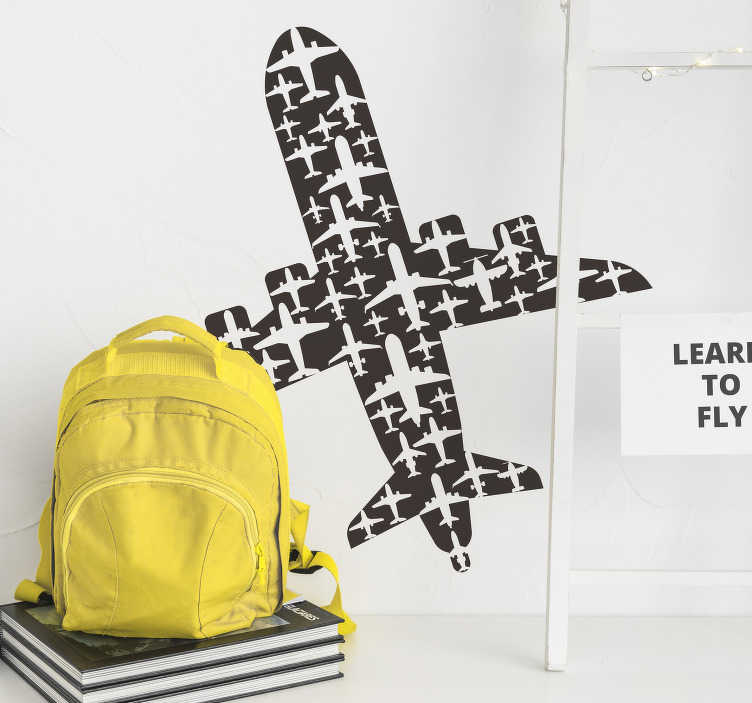 TenStickers. Airplane shape wall decor. Airplane silhouette wall decal that symbolises travel, adventure and places. This design can be applied in teen's room or living room. Easy to apply.