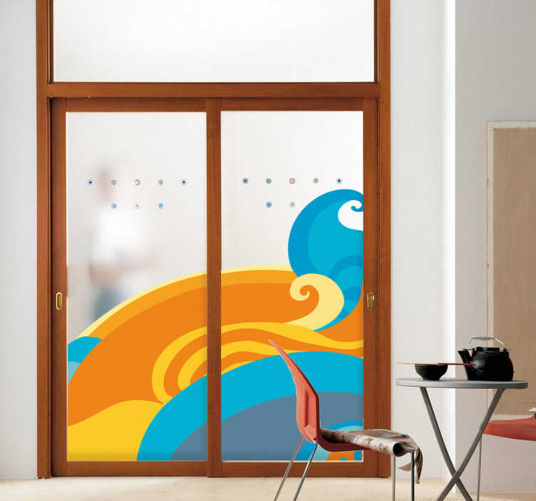 TenStickers. Bunte Wellen Aufkleber. Gelb, blau, orange und grau. Mit diesen farbigen Wellen als Wandtattoo können Sie Ihre triste Wand aufwerten.